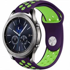 Curea ceas Smartwatch Samsung Gear S3, iUni 22 mm Silicon Sport Purple-Green