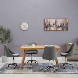 Scaune de sufragerie cu rotile, 4 buc., gri deschis, țesătură