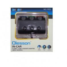 Spliter bricheta X3, cu incarcator USB, 5V, 3,1A - 109635