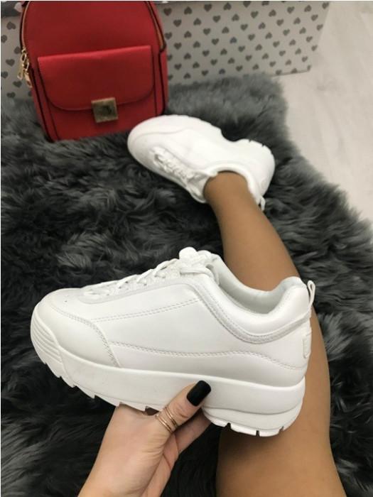 Adidasi dama albi cu platforma marime  38, 39, 40, 41+CADOU