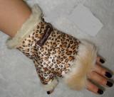 Manusi fara degete dama animal print blana eco ciucuri blana naturala vulpe