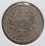 Portugalia 50 centavos 1927, Europa, Cupru-Nichel