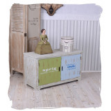 Pantofar din lemn masiv alb antichizat ALG030
