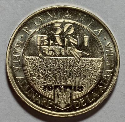 50 Bani 2018 Romania, UNC, din fisic, 100 Ani de la Marea Unire din 1918 foto