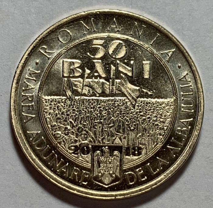 50 Bani 2018 Romania, UNC, din fisic, 100 Ani de la Marea Unire din 1918