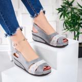 Sandale dama cu platforma gri Natare