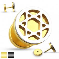 Plug fals de ureche - crestături în formă de steaua lui David, culoare argintie - Culoare Piercing: Auriu