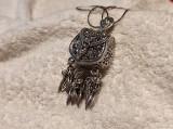 MEDALION argint POSETA art nouveau FRANTA 1900 OPULENT si MASIV pe Lant argint