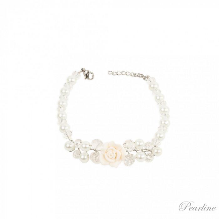 Bratara cu floare Fairy Tale cu perle si cristale