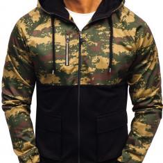 Bluză pentru bărbat cu glugă camuflaj-negru Bolf 0450