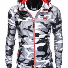 Jacheta pentru barbati, din fas, stil militar, army, slim fit, cu fermoar si gluga C352-camuflaj-gri-deschis