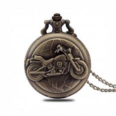 Ceas de buzunar Pava, model Retro Vintage, motorbike style