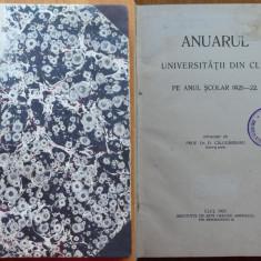Prof. Dr. Calugareanu , Anuarul Universitatii din Cluj pe anul scolar 1921 - 22
