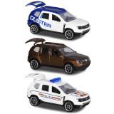 Cumpara ieftin Set Majorette Dacia Duster masina alb albastru, masina maro si masina de politie