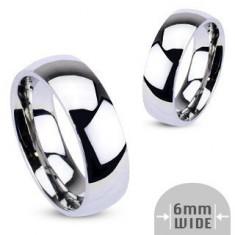 Inel din metal - verighetă rotunjită, lucioasă, argintie - Marime inel: 48