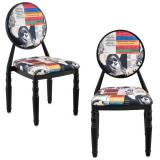 Set 2 scaune design vintage - negru/ cu model