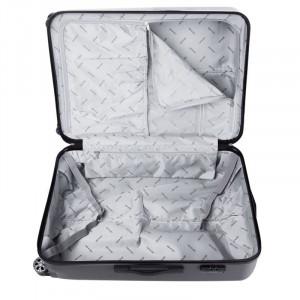 Troler Lamonza Steelcase, ABS, 65 cm, aspect metalic, negru