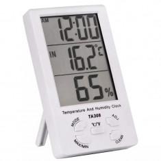 Termometru si higrometru, ceas cu alarma digital, cu senzor, de culoare alb
