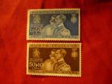 2 Timbre Italia 1932 Aniversare Incoronare Printii Belgiei , fara guma, Nestampilat
