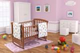 Set patut bebe, cearceaf cu elastic pentru saltea 60x120x10, pernuta 37 55, pilota 100 105, aparatori 180x45, model Ursuleti
