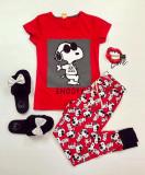Pijama dama ieftina din bumbac cu tricou rosu si pantaloni rosii cu imprimeu SY