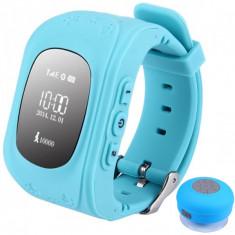 Ceas cu GPS Tracker si Telefon pentru copii iUni Kid60, BT, Apel SOS, Activity and sleep, Albastru + Boxa Cadou