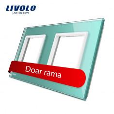 Rama priza dubla Livolo din sticla, Verde