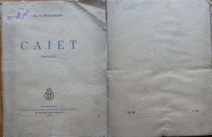Al. O. Teodoreanu ( Pastorel ) , Caiet ; Versuri , 1939 , editia 1