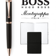 Set Ducale Black Rose Gold Ballpoint Montegrappa si Note Pad Hugo Boss