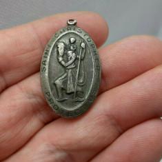 Vechi Pandantiv Religios Din Argint St.Christhoper