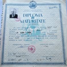 Diploma de Maturitate - Perioada Comunista RPR, Timisoara 1965