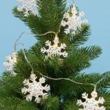 Instalatie LED 10 ornamente fulg de zapada, metalice, 1.35 m, alb cald