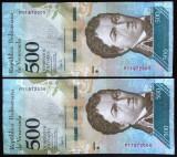 Lot/Set Bancnote 500 BOLIVARES - VENEZUELA: SERII CONSECUTIVE  *cod 768 --- UNC