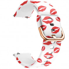 Curea din silicon, compatibila Samsung Galaxy Watch Active, telescoape Quick Release, 20mm, Red Kiss