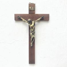 Cruce veche ,crucifix din lemn,cu Isus metalic rastignit,dimensiuni mari