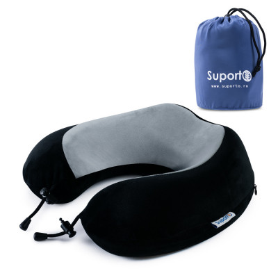Perna calatorie din spuma cu memorie Suporto Travel negru/gri foto