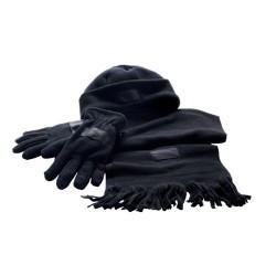 Set caciula fular manusi Triple Black foto