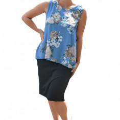 Bluza de vara tip maieu,Florice din voal,imprimeu floral ,nuanta de albastru, 36, 38, 40, 42, 44