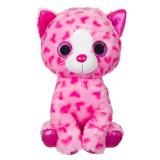 Pisicuta de plus Hearts Glitter, 40 cm, Roz, Oem