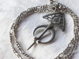 MEDALION argint FIBULA TUAREGA etnica TRIBALA veche RARA de efect pe Lant argint