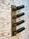 Suport pentru sticle de vin, in stil industrial, Avalon, 11.4x70x9 cm, wenge