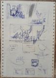 Studii 5 ani de la infiintarea Muzeului Aviatiei// Ion Taralunga, pix pe hartie, Peisaje, Acuarela, Avangardism