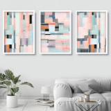 Cumpara ieftin Set 3 tablouri decorative Geometric Pink, Heinner
