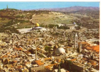 AD 1108 C. P. VECHE -IERUSALEM,  BIRD'S EYE VIEW -IERUSALIM -ISRAEL foto