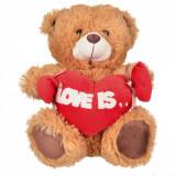 """Ursulet Maro - 28 cm Cu Inimioara """"Love is..."""", Cadouri Valentine`s Day"""