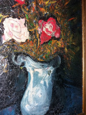 Tablou Vechi - posibil autor mare -rama superba - Vaza cu flori (79) foto