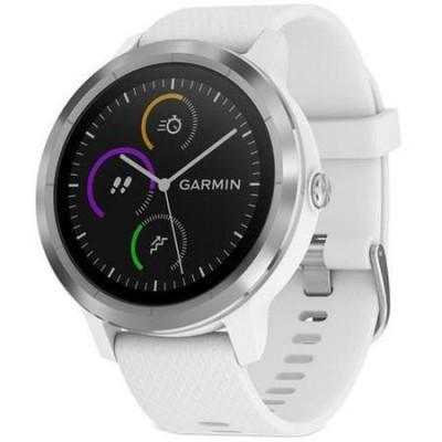 Smartwatch Garmin Vivoactive 3, HR, GPS, Silver, curea Silicone White foto
