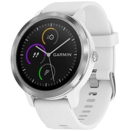 Smartwatch Garmin Vivoactive 3, HR, GPS, Silver, curea Silicone White