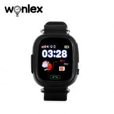 Ceas Smartwatch Pentru Copii Wonlex GW100 cu Functie Telefon, Localizare GPS, Pedometru, SOS - Negru, Cartela SIM Cadou