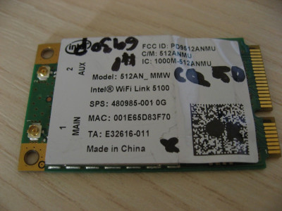 Placa wireless laptop HP Compaq Presario CQ50, Intel WIFI Link 5100, 480985-001 foto